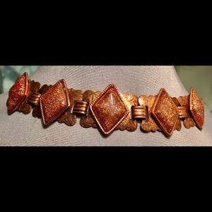 Vintage Copper Links with Goldstone Bracelet